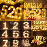 Warm White LED Number Lights Light Up 0-9 Arabic Numbers Standing/ Hanging Decor