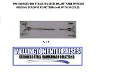 PRE SWAGED TO LENGTH  D.I.Y STAINLESS STEEL  WIRE BALUSTRADE KIT W/SADDLES KIT 4