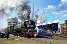 Treno a vapore OCEAN LINER Queen Mary BATTAGLIA D'INGHILTERRA MOTORE compleanno carta
