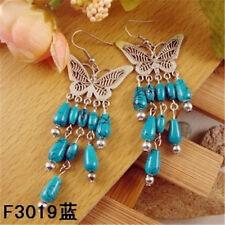 Big Beautiful Vintage Tibetan Copper Butterfly Plate Turquoise Dangle Earrings