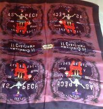 """NWOT $148 FURLA IL Cavaliere The Knight 33"""" Square Silk Scarf Purple"""