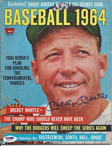 "MICKEY MANTLE PSA/DNA SIGNED 1964 'BASEBALL 1964"" MAGAZINE AUTOGRAPHED RARE"