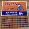 """1939 Fixaco Cough Drops Cardboard Sign 18.5""""x11.5"""" And 50 Matching Empty Tins"""