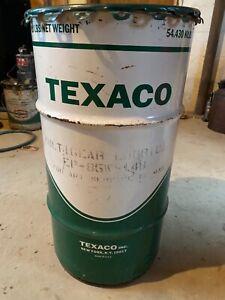Vintage Texaco Metal Grease Oil Barrel Drum Trash Can Garage Man Cave