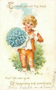 To Wish You All the Best Child Phlox Flowers Bouquet Antique 1907 Embossed PoG05