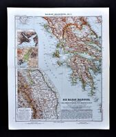1911 Stieler Map Greece Athens Constantinople Romania Balkans Macedonia Turkey