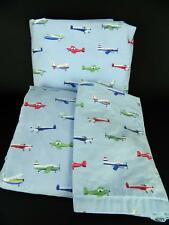 Pottery Barn Kids Blue Airplanes Twin Bedding Set Flat Fitted Sheets Pillowcase
