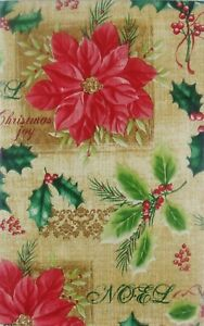 Poinsettias and Holly with Christmas Tags Vinyl Flannel Back Tablecloth Var Size