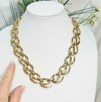 Vintage Gold Tone Decorative Oval Chain Link Necklace
