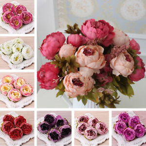 10 Heads Artificial Peony Silk Flowers Heads Wedding Bouquet Home Party Decor
