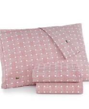 4Pc Lacoste Applique Garnet Red & White Geo Compass Cotton Queen Sheet Set Nip