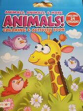 Animals Coloring & Activity Book Includes 24 Stickers