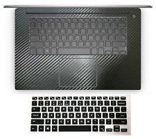 black carbon fiber Palmrest Sticker + Keyboard Cover for Dell XPS 15 series