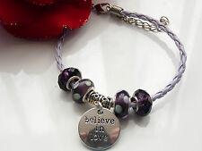 Lilac & Purple Leatherette Charm Bead Bracelet - Handmade - BN