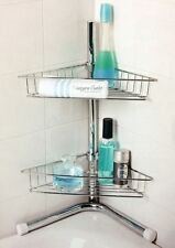 2 TIER CORNER CHROME SILVER SHELF STORAGE SHOWER BATH BATHROOM CADDY
