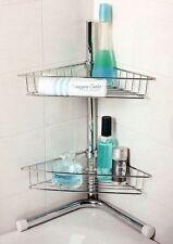 2 TIER CORNER CHROME SILVER SHELF STORAGE SHOWER BATH BATHROOM CADDY