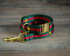 Designer Brand Dog Collar Leash Green Red Stripe Lead Adjustable Gucci Collars