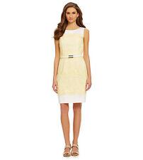 Alex Merie Wear to Work Shine Bright Gloria Belted Lace Sheath Dress Sz 12