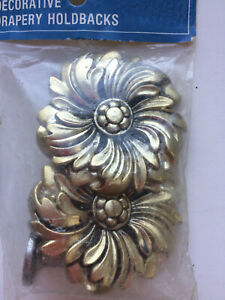 2 VTG Kirsch Gold Plastic Baroque Curtain Drape Tie Backs Holders Floral MCM NEW