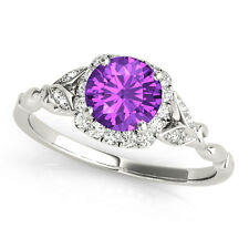 1.12 Carat Round Cut Amethyst Gem Stone Halo Diamond Floral Engagement Ring