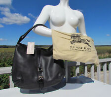 NEW BURBERRY Grafton Hobo purse ITALY black leather beat check lining sleeper
