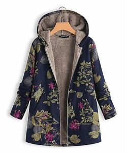 Navy & Pink Floral Zip-Up, Sherpa-Lined, Jacket, Size- XL (US 14)