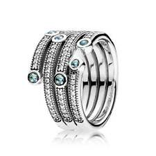 NEW! Authentic Pandora Shimmering Ocean Frosty CZ Mint Ring #191002CZF-56 (7.5)