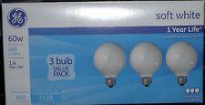 GE 6 Decorative 60W G25 Globe Bulbs Soft White Incandescent 660 Lumens VHTF NEW