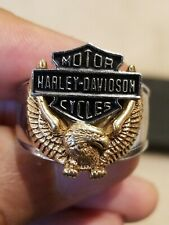 Harley Davidson 10KT Gold & Stainless Steel Men's Size 11.5 Ring