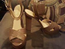 Nine West 9 beige leather sandals stilettos heels shoes SEDONA