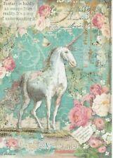 Rice Paper for Decoupage Scrapbook Craft Sheet Wonderland Unicorn