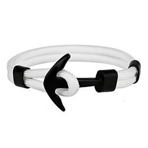 Bracelet Ancre Marine Homme Femme Noir Blanc Mode Été Style Poignet