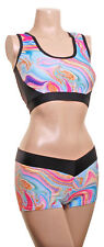 POLE Dance Ladies Fitness Muscle Top & Hot Pants Turquoise Marble POLE DYNAMIX