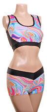 Pole Dance Femmes Fitness Muscle Haut & Shorty Turquoise Marbre Mât Dynamix