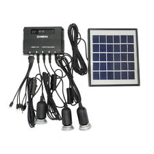 Solar Panel LED Light Lamp USB Charger Outdoor Home Garden Lantern System Kit 4W