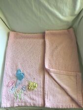 BABY CONNECTION Pink Ribbed Striped Baby BLANKET 3-D Flowers Butterflies HTF