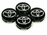 4 x TOYOTA WHEEL CENTER HUB CAP GLOSS BLACK CHROME LOGO 62MM - FSH