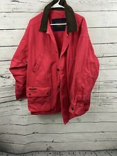 Vtg Timberland Mens Weathergear Pink Red Size Large Leather Trim Fall Coat