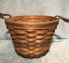 """Bradford Basket Company 9"""" Round X 6.5"""" Tall Basket With Leather Handles"""