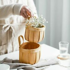 Hand Woven Wood Storage Basket Flower Bread Books Wall Hanging Home Decoration