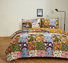 3PC ANTIQUE BLOOM TWIN PATCHWORK QUILT SET BEDDING PACKAGE. COUNTRY QUILT