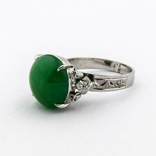 10K White Gold  Diamond Cut Design Ring With Green Agate Center Stone