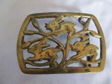 Rare Vintage Bunny Rabbits Solid Brass Belt Buckle