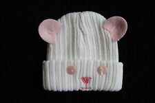 Baby clothes GIRL newborn 0-1m white face/pink ears/eyes pull-on hat SEE SHOP!