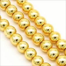 Lot de 30 Perles Rondes Hématite 8mm Doré