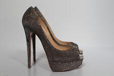 sz 6.5 / 37 Christian Louboutin Metallic Silver Lady Peep Toe Platform Pump Shoe