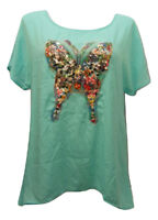 SI AVANCE Women's Top Sequin-Butterfly Scoop-Neck Kimono-Sleeve Mint SIZE 2XL