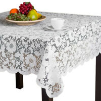 White Vintage Lace Tablecloth Weaving Floral Table Cover Wedding Banquet Decor