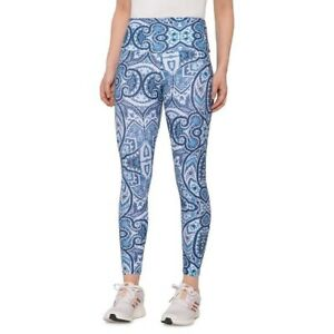 ONZIE High Midi Leggings Paisley - High Waist Blue & White S NWT