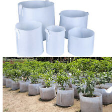 White Round Fabric Pots Plant Pouch Root Container Grow Bag Aeration Containers